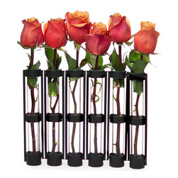 Danya B - Six-tube Hinged Vase - Hinged vase will add a modern flair to your home decorFeatures six glass vials hinged on a sturdy metal stand Artfully display flowers or dried botanicals in each tube