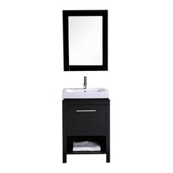 "Design Element - Design Element DEC091A New York 24"" Single Sink Vanity Set in Espresso - Design Element DEC091A New York 24"" Single Sink Vanity Set in Espresso"