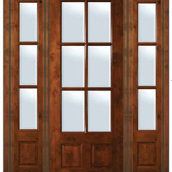 "Prehung French Sidelights Door 96 Wood Alder 3/4 Lite 6 Lite - SKU#    ED8355-G-TDE16-2 IGBrand    GlassCraftDoor Type    FrenchManufacturer Collection    6 Lite French DoorsDoor Model    6 LiteDoor Material    WoodWoodgrain    Knotty AlderVeneer    Price    4150Door Size Options      +$percentCore Type    Door Style    Door Lite Style    3/4 Lite , 6 LiteDoor Panel Style    2 PanelHome Style Matching    Door Construction    TDLPrehanging Options    PrehungPrehung Configuration    Door with Two SidelitesDoor Thickness (Inches)    1.75Glass Thickness (Inches)    Glass Type    Double GlazedGlass Caming    Glass Features    Low-E , Tempered ,  Low-E , BeveledGlass Style    Glass Texture    ClearGlass Obscurity    No ObscurityDoor Features    Door Approvals    Wind-load Rated , SFI , TCEQ , AMD , NFRC-IG , IRC , NFRC-Safety GlassDoor Finishes    Door Accessories    Weight (lbs)    628Crating Size    25"" (w)x 108"" (l)x 52"" (h)Lead Time    Slab Doors: 7 Business DaysPrehung:14 Business DaysPrefinished, PreHung:21 Business DaysWarranty    One (1) year limited warranty for all unfinished wood doorsOne (1) year limited warranty for all factory?finished wood doors"