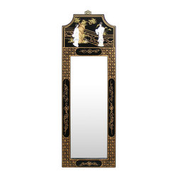 China Furniture and Arts - Black Lacquer Mirror - The frame is what all is there to turn a simple mirror into a work of art. Hand-painted with gold decorative design on black lacquered wood, the top is decorated with Chinese garden scene accented with mother of pearl maiden figures. Brass hanging hook is included.