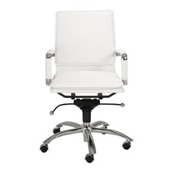 Eurostyle - Gunar Pro Low Back Office Chair-White/Chrome - Being able to clearly see the padded seating area and backrest of this inviting chair will only inspire you to want to sit in it as soon as possible. The base also features intuitive controls to fine-tune your already satisfying experience.