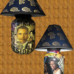 Obama's All Over Lamp Set - TEDDEEZtm Collage Obama's All Over Lamp is beautifully crafted collage of President Obama and Michelle Obama is an exceptionally unique gift for collectors. Each lamp tells the story about the first family with the use of images. Their are no duplicates available so be first. Great collectors gift.