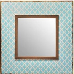 Blue Vintage Wallpaper Mirror - This is adorable. It's a perfect powder bath mirror.