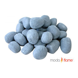 Moda Flame - Moda Flame 24 Piece Ceramic Fireplace Pebble Set in Gray - Moda Flame 24 Piece Ceramic Fireplace Pebble Set in Gray Give prominence to your current fireplace with the Moda Flame 24 piece ceramic pebble set. This ceramic pebble set is designed of finest quality light weight ceramic fibers that can sustain temperatures of 1000 Degree Celsius and will not scratch or harm the surface of the fireplace. Pebble Set (24 Pieces)