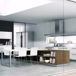 "Designer Range Hoods - ""Loft CTM"" Series - The ""Loft CTM"" designer range hood from Futuro Futuro is equipped with a removable bottom portion that allows the installation of a custom shelf or panel. The ability to seamlessly integrate a range hood into the kitchen environment gives the designer a vast variety of creative options."