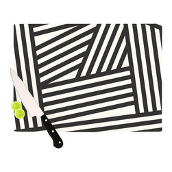 "Kess InHouse - Louise Machado ""Black Stripes"" Cutting Board (11.5"" x 15.75"") - These sturdy tempered glass cutting boards will make everything you chop look like a Dutch painting. Perfect the art of cooking with your KESS InHouse unique art cutting board. Go for patterns or painted, either way this non-skid, dishwasher safe cutting board is perfect for preparing any artistic dinner or serving. Cut, chop, serve or frame, all of these unique cutting boards are gorgeous."