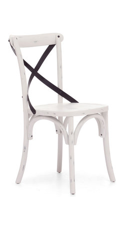 Zuo Modern - Union Square Chair Antique White (Set of 2) - Modeled after the most popular cafe chair in Europe, our versatile X-back dining chair comes in natural, antique black, and antique white. Frame is solid wood with antique metal accents.