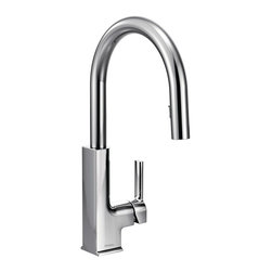 STo™ Kitchen Faucet with Chrome Finish - The modern look of the STo kitchen faucet stays in focus while the pulldown wand blends into the slim neck to keep convenience concealed.