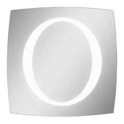 Ren-Wil - Ren-Wil MT1140 Square Trent Lighted LED Mirror in All Glass - This mirror is perfect for any room with its unique shape and polished edges. The oval in the center of the mirror lights up with led bulbs and can be surface mounted or recess mounted.