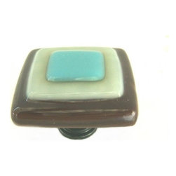 Uneek Glass Fusions - Brown, Ivory, Turquoise Fused Glass Knob - Collection: Strato