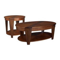 Hammary Oasis 2-Piece Oval Coffee Table Set - The Hammary Oasis 2-Piece Oval Coffee Table Set includes a smart lift-top coffee table with two storage compartments a wide shelf and hidden casters. The matching end table features a fixed bottom shelf for display. Both tables are made from hardwood solids cherry and walnut veneers with a rich medium brown finish. About Hammary Furniture CompanyHammary Furniture Company was started in 1943 by furniture craftsman Hamilton Bruce. The name Hammary is a combination of Hamilton and Mary (Hamilton's wife's name). Hammary is now a division of La-Z-Boy Incorporated and they specialize in providing quality home furniture for today's modern families and homes. Hammary offers a variety of occasional table styles and other furniture for home office casual dining and bedroom in all shapes sizes and materials. The Hammary Oasis 2-Piece Oval Coffee Table Set includes a lift-top coffee table with two storage compartments a shelf and casters and an Oval end table with a fixed bottom shelf for display. Both tables are made from hardwood solids cherry and walnut veneers with a rich medium brown finish. About Hammary Furniture CompanyHammary Furniture Company was started in 1943 by furniture craftsman Hamilton Bruce. The name Hammary is a combination of Hamilton and Mary (Hamilton's wife's name). Hammary is now a division of La-Z-Boy Incorporated and they specialize in providing quality home furniture for today's modern families and homes. Hammary offers a variety of occasional table styles and other furniture for home office casual dining and bedroom in all shapes sizes and materials.
