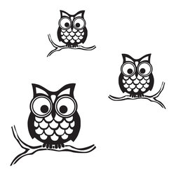 """WallPops - Give a Hoot Wall Art Decal Kit - Give A Hoot Small Wall Art Kit - How fun are these owls? Small enough to be perched anywhere in your home, these wise owl stickers have a retro design, and will look smart in any room. Give a Hoot Kit WallPops come on a 17.25"""" x 24"""" sheet and contains 3 total pieces. WallPops are always repositionable and removable."""