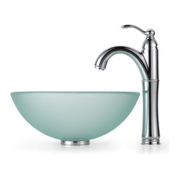 Kraus - Frosted 14 in. Glass Vessel Sink and Rivera Faucet - Finish: Chrome