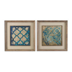 Uttermost - Uttermost Stained Glass Indigo Art Set of 2 - 41512 - Uttermost's art combines premium quality materials with unique high-style design.