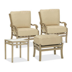 Thos. Baker - catalina 4pc seating set - The catalina collection features subtly weathered heavy-gauge aluminum frames, elegantly set-off with romantic accents and a classic crossback style.