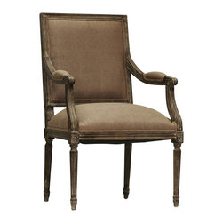 Zentique - Louis Arm Chair - Copper, Limed Charcoal - Louis Arm Chair featuring a square back with comfortable foam filling seats, this style of chair is upholstered in Copper Linen and framed in Limed Charcoal Oak.. Imported.