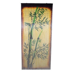 "Bamboo54 - Bamboo Tree Scene - Bamboo tree scene curtain is made from authentic bamboo and hung under doors to be used as a room separator. Painted on both sides. Rich blend of colors makes this one of our most popular curtain. Measures approximately 36"" x 80"""