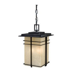 Vaxcel Ashbee Outdoor Pendant - 9W in. Noble Bronze - The sparse, angular qualities of the Mission style never seem to go out of fashion, and the Vaxcel Ashbee Outdoor Pendant - 9W in. Noble Bronze is a perfect way to enjoy them while you illuminate your indoor or outdoor space. This damp-rated pendant fixture is crafted from rugged metal with a traditional bronze finish that is a nice complement to the honey-linen glass shade. Three 60-watt candelabra bulbs will shine a warm and inviting light that you'll enjoy for years.About Vaxcel LightingFor over 20 years, Vaxcel International has been a premier supplier of residential lighting products. Based in Carol Steam, Ill., Vaxcel's product line is composed of more than 2,000 items, ranging from builder-ready fixtures and ceiling fans to designer chandeliers and lamps, in the latest styles and finishes. They're known in the industry for offering a full selection of products at competitive prices.