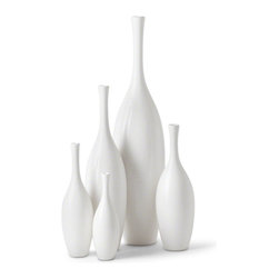 Kathy Kuo Home - Bliss Modern Tulip Set of White Ceramic Vases - Set of 5 - Fun and festive, these five polished white vases make a bold statement together in a group. Add pops of color all around a room by displaying them individually. Each piece has a different height and diameter, creating an intriguing array of art. Fill them with flowers, branches or anything you wish.