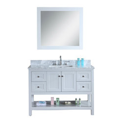 "Ari Kitchen and Bath - Emily 48"""" Cottage Style Bathroom Vanity With Carrara Marble - Light Grey - Beautiful cottage style bathroom vanity by Ari Kitchen and Bath, a new brand manufacturing quality bathroom decor at affordable prices. The new 48"" Emily comes with a carrara marble top, with a rectangle CUPC basin, soft-closing drawers and doors, concealed drawer hinges, light grey framed mirror and light grey solid wood bathroom cabinet. Absolutely no MDF or Particle board on all of our bathroom vanities. All of our bathroom vanities come assembled by the manufacturer, minimal assembly required."
