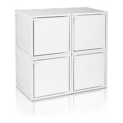 Way Basics - BOX (4 cubes), White - Box will easily stack, connect and align to create your perfect organizer! Form a 4-tiered nightstand or a side by side double cubby and accessorize with a door to hide that inevitable clutter. The simple, modern design of the Bo will complement and adorn any room.