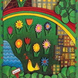 """Concord Global - Upper West Side Neighborhood Multi Area 6'7"""" x 9'3"""" Rug New York City MTA Arts F - Located next to central park, in a diverse and culturally rich neighborhood, an inviting place. Artist: akayo Noda, Mixed-media Collage, 1998"""