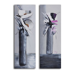 """My Art Outlet - Near And Far Vase Hand Painted Canvas Wall Art - Size: 32"""" x 48"""" (16"""" x 48"""" x 2pc). Enjoy a 100% Hand Painted Wall Art made with oil and acrylic paints on canvas stretched over a 1"""" thick inner wooden frame. The painting is gallery wrapped and ready to hang out of the box. A very stylish addition to any room that is sure to get the attention of guests."""