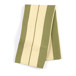"Green Racing Stripe Custom Napkin Set - Our Custom Napkins are sure to round out the perfect table setting""""_whether you're looking to liven up the kitchen or wow your next dinner party. We love it in this sage green & tan woven racing stripe. a classic alternative to the traditional awning stripe that can work in any decor."