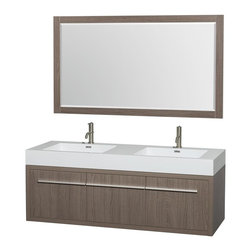 Wyndham Collection - 60 in. Double Bathroom Vanity in Gray Oak, Acrylic, Resin Countertop, Integrated - The bold ultra-modern and visually stunning design of the Axa wall-hung vanity makes a powerful statement while incorporating generous counter space and storage for bath items. The one of a kind styling ensures a high-end look at a very reasonable price and brings an element of contemporary sophistication to a fabulous bathroom remodel. Satin Chrome accents finish the look - it's quite remarkable, and all the more so in person.