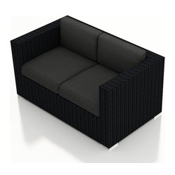 Urbana Modern Outdoor Loveseat, Charcoal Cushions