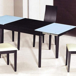 Extendable Wooden with Glass Top Modern Dining Table Sets - Elegant black frosted glass dining room set with extension leaf. This Dining Chair features a wooden slightly curved back, providing comfort and a pleasant appearance. Comfort and beauty merge in these fine dining room chairs. There is a range of colors, choose your style, feel comfort.