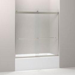 """KOHLER - KOHLER K-706004-D3-MX Levity Sliding Bath Door w/ Towel Bar & 1/4"""" Frosted Glass - KOHLER K-706004-D3-MX Levity Sliding Bath Door with Towel Bar and 1/4"""" Frosted Glass in Matte Nickel"""