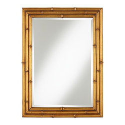 """Cinnabar Road - Traditional Bamboo Golden 24"""" x 32"""" Wall Mirror - This mirror is an excellent nod to the bamboo influence in Regency style. A typical Hollywood Regency mirror is oversize and more ornate, but that's why this mirror is a perfect fit for today. Its basic lines allow it to slip into any space without looking like a misfit."""