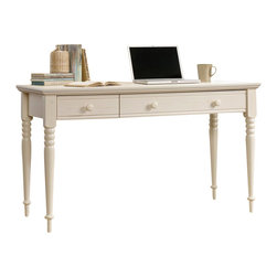 Sauder - Harbor View Collection Wood Writing Desk in Antique White - Sauder - Computer Desks - 158041 - Turned legs overhang tabletop and other decorative touches give the Harbor View collection its storybook warmth and charm. This writing desk with a flip-down panel especially designed for a keyboard will add a charming country chic to your family room or home office.
