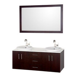 "Wyndham - Arrano 55"" Double Bathroom Vanity Set - Espresso - The Arrano Double Vanity Set features compact design in a double vanity with plenty of storage, blending simple lines and clean design with modern elements like semi-recessed vessel sinks and brushed nickel hardware, resulting in a modern yet timeless piece of bathroom furniture.; The Arrano comes standard with a white man-made stone counter, white porcelain semi-recessed sinks and a matching mirror. Featuring soft close door hinges, meticulously finished with brushed nickel hardware, the attention to detail on this stunning vanity is second to none.; Espresso finish; White man-made stone counter; Features soft close door hinges; Includes porcelain semi-recessed sinks; Single large 53"" mirror; Pre-drilled for single hole faucets; Faucets not included; Dimensions: Vamity 55 x 21 x 23.5 (including sink); Mirror 52-3/4 x 33 x 1"