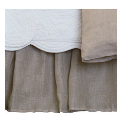 Taylor Linens - Linen Voile Natural Twin Bed Skirt - Floaty? Yes! Fussy? No! This bed skirt boasts breezy open-weave linen with a crisp cotton lining. You'll love the vibe and the versatility, which suits just about any bedroom decor.