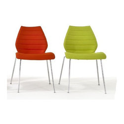 Kartell - Kartell Maui Soft Dining Chair (Set of 2) - Designed between 1995 and 1996, the Maui chair was the focal point of design research in the nineties and is the first of a new era of single mold seats in material that has no ribbing, tracery, metal supports, or reinforcements to support the back. In 2012 Kartell brought it back in a fabric covered version (Kvadrat and Trevira) thus increasing its rich family of colors and functions. This chair is able to satify the specific needs in the contract sector as well as in the home. The elegant lines and its practicality makes the Maui chair an extremely versatile design, just as contemporary today as yesterday. Available in red, orange, acid green, ultramarine green, beige, brown, blue, grey, black, and fuchsia. Manufactured by Kartell.