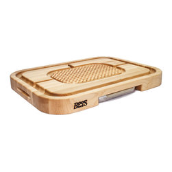 John Boos - John Boos Aztec Board With Pan & Grips Maple 24 x 18 x 2.25 - This John Boos Aztec Board is the dream of every host!