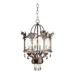"""Currey and Company - Crystal Currey and Company Zara Small Pendant Light - The Zara pendant light is part of the Winterthur Archive Collection which was inspired by European country designs from the 18th and 19th Centuries. The wrought iron frame gets a combination silver and gold finish. Seeded glass panels are illuminated by four candelabra fixtures while smoked crystal drops further decorate the opulent look. From Currey & Company.  Viejo gold and silver finish. Seeded glass. Smoked crystal. Takes four 25 watt candelabra bulbs (not included). 21"""" high 12"""" wide. Includes 15 feet of lead wire 3 feet of chain. 10 pounds hanging weight.  Viejo gold and silver finish.   Seeded glass.   Smoked crystal.   Takes four 25 watt candelabra bulbs (not included).   12"""" wide.   21"""" high.  Includes 15 feet of lead wire 3 feet of chain.  10 pounds hanging weight."""