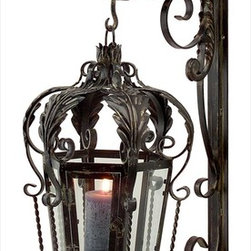 "Imax Worldwide Home - Balfour Lantern with Bracket - Elegant wrought iron lantern with wall bracket.; Country of Origin: China; Weight: 18.8 lbs; Dimensions: 40""h x 11""w x 18""d"