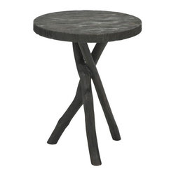 Safavieh - Safavieh Quinn Tripod Round End Table X-B8064HMA - Give any room a bright and airy feel and an earthy and rustic style with the Quinn round end table. Evocative of a campsite tripod table fashioned of branches, but crafted of renewable bayur wood in dark ebony finish, this design complements everything from mountain lodge to urban condo. No assembly required.