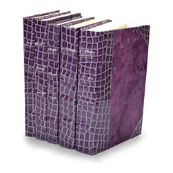 Exotic Croc Collection II - Lilac  - Set of 5 - You can, indeed, judge a book by its cover. A visually striking set of decorative tomes, the Exotic Croc Collection - Lilac - Set of 5  makes an impressive graphic statement when placed upon a shelf in an eclectic great room, a window ledge in a home office, a fireplace mantel embellished with objets d'art, or glass-fronted armoire in a personal library.
