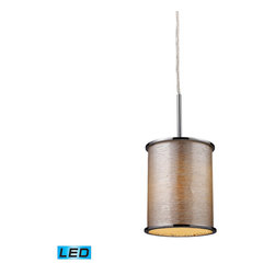Elk Lighting - Elk Lighting Fabrique 1-Light Drum Pendant in Polished Chrome & Silver Streak Sh - 1-Light Drum Pendant in Polished Chrome & Silver Streak Shade belongs to Fabrique Collection by The Drum Pendant Collection Offers A Vast Selection Of Elegant Lighting Fixtures That Will Update Any decor. Choose From Three Sizes And A Host Of Luxurious Fabrics. Each Drum Has Chrome Plated Metal Border Rings And A Translucent Diffuser. - LED Offering Up To 800 Lumens (60 Watt Equivalent) With Full Range Dimming. Includes An Easily Replaceable LED Bulb (120V). Pendant (1)