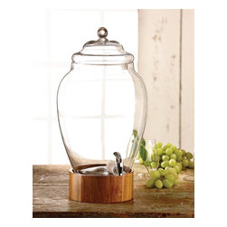Jay Companies - Madera 3 Gallon Wooden and Glass Drink Dispenser - This beautifully crafted beverage essential will add a decorative touch to your surroundings while offering a functional vessel for your favorite drinks and cocktails. The wooden stand lends the server a modern air as you display the dispenser as your buffet server at any outdoor party, wedding or even spa accessory. Tropical and chic, this traditional drink dispenser is the perfect outdoor entertaining accessory with its summer fresh appeal! Featuring a wide opening for effortless refilling and cleaning, and a heavy duty acrylic spigot for a smooth and efficient flow. * Capacity: 3 gallons * Wooden stand can be removed and used as a serving bowl