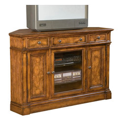 """Hekman - Urban Ash Burl Corner Entertainment Console - Hekman Urban Ash Burl Corner Entertainment Console; Urban Ash Burl Finish; Offers plenty of storage space behind stylish wood and beveled glass doors and multiple drawers; Adjustable Shelves (2, - 1 behind each door) inside doors can accommodate electronic components; Tech-Ready"""" features include power outlet, wire management, two (2) DVD/CD trays, and docking station for MP3 players and other personal electronic devices.; Three drawers across the top; Dimensions: 48""""L x 22""""W x 32""""H; Outside Left/Right Cabinet Interior: 12""""W x 8.3""""L x 20.9""""H; One flipworks media shelf (adjustable) behind each door; Center Left/Right Cabinet Interior: 18.8""""W x 19.3""""D x 20.9""""H; Two glass shelve behind door"""