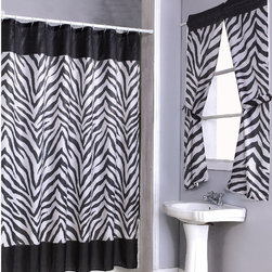 None - Zebra Print Shower Curtain Set and 4-piece Window Set - Spice up the decor of your bathroom with this zebra print shower curtain set. This set includes a window panel, 12 shower rings, and a PEVA liner. Constructed from a polyester/PVC material, this set is machine washable as well as stylish.