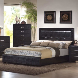 Coaster - Dylan California King Size Bed - The Dylan collection includes stylish bedroom pieces that will help you transform your master suite into a calming oasis. Features clean lines, with wood veneered tops and case sides and fronts. The luxurious storage pieces are accented with silver metal handles for a modern touch, while a stunning upholstered bed covered in rich black faux leather acts as the focal point. Crafted from select hardwoods and veneers.