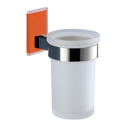 Gedy - Wall Mounted Frosted Glass Toothbrush Holder With Orange Mounting - Modern style round wall mounted frosted glass toothbrush holder.