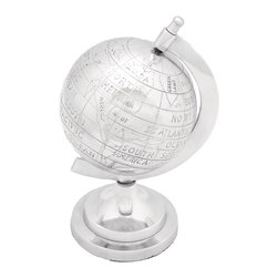 Aluminum Decor Globe with Intricate Detail Work - Symbolizing your love for travel and your quest for knowledge, this amazing aluminum decor globe is a perfect addition to your living space. Easily movable, you can place it anywhere desired. You can embrace your lavish living room, your study, or even your kids? room with this beautiful aluminum decor globe. Offering matchless quality and long life durability, this decor globe is sure to be with you with the same new look for years to come. It requires least maintenance and assures you of dazzling look. You can also use this attractive globe in your office space. It comes with a following  dimension