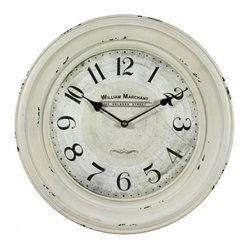YOSEMITE HOME DECOR - 16 in. Circular Iron Wall Clock distressed  white iron frame - This cottage style circular wall clock has a distressed white frame with two grooves in the frame. The dial is also a distressed white to match. The numbers and hands are both black. The words William Marchant are stamped right under the 12 o'clock.